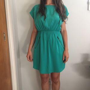 Teal, short sleeved dress